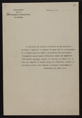 De facto tunnustuse kiri. Foto: Eesti Rahvusarhiiv