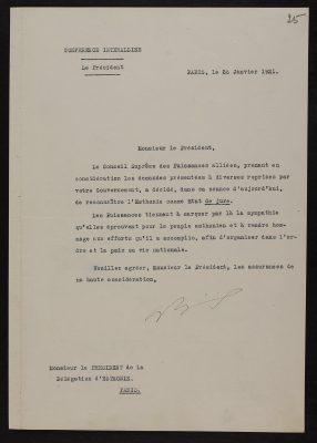 De jure tunnustuse kiri 26.01.1921. Foto: Eesti Rahvusarhiiv