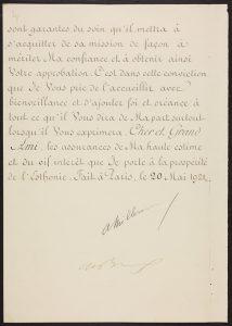 Prantsuse saadiku A.Gilberti volikiri 2. Foto: Eesti Rahvusarhiiv