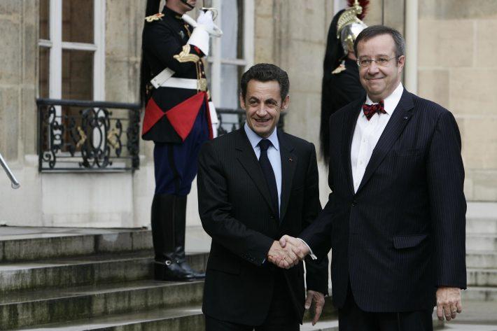 EV president T.H.Ilves kohtub Pariisis Prantsuse presidendiga N. Sarkozy'ga 7.04.2008 . Foto: Elysée