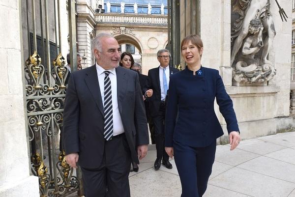 VP Kersti Kaljulaidi töövisiit Lyoni majandussuhete elavdamiseks. Kohtumine Lyoni linnapea Georges Kepenekianiga. Foto: Muriel Chaulet